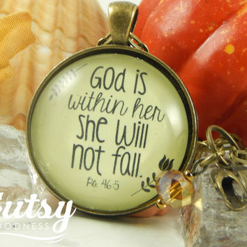 God is Within Her, She Will Not Fall Scripture Pendant Necklace Strength Gift Women