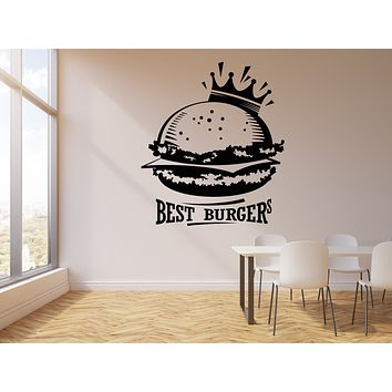 Vinyl Wall Decal Best Burgers Crown Fast Food Cafe Decor Stickers Mural (g202)