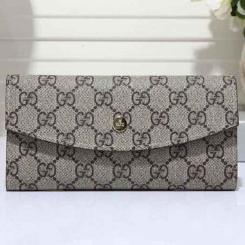 Gucci Fashion Women GG Letter Print Leather Buckle Purse Wallet I