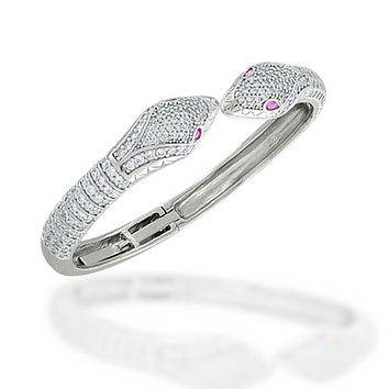 Snake Serpent Hinge Red Eyes Bangle Bracelet Pave CZ Silver Plated
