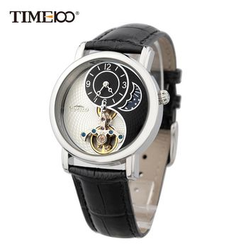 Time100 Unisex Skeleton Mechanical Watches For Men Women Tourbillon Style Taichi Pattern Sun Moon Phase Black Leather Strap