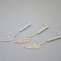 Angle Wings with cubic zirconia detail post earrings in Gold / Silver