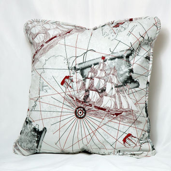 Cream Beige Grey  Old Navy Fleet Map Printed Decorative Pillow Case , Decorative Covers , Sham ,  Throw Pillows 18 inch x 18 inch