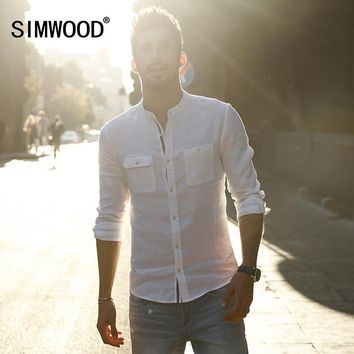 SIMWOOD Brand 2017 New Arrival Autumn Casual Shirts Men 100% Linen  Long SLeeve Slim fit   Mandarin Collar Clothing  CS1591