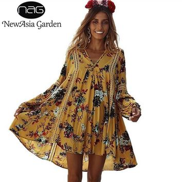 NewAsia Garden Loose Fit V Neck Lantern Long Sleeve Dress Floral Lace Women Summer Dresses Bohemian Holiday Mini Beach Dress New