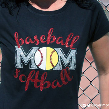 BASEBALL SOFTBALL MOM, sparkly baseball and softball glitter shirt - Choose from a Regular Unisex or Ladies' Fitted Fitted tee
