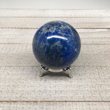 "237.8g, 2.1"" Natural Lapis Lazuli Crystal Sphere Ball Handmade @Afghanistan,LS04"