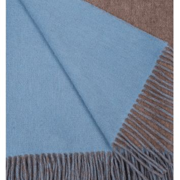 Mushroom and Blue Skies Wool / Cashmere Double-Faced Throw