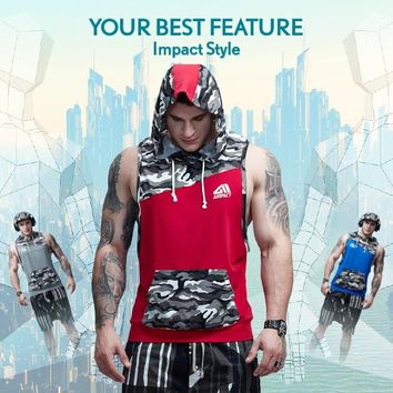 Aimpact Men's Camouflage Patchwork Tank Top