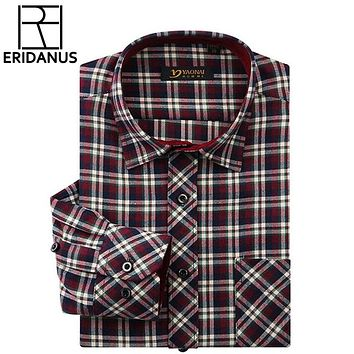 New Fashion Flannel Shirts Mens Classic Long Sleeve Plaid Checked Regular Fit Social Shirt Men