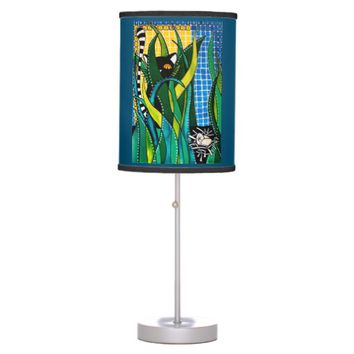 Hunter in Camouflage Whimsical Cat Art Table Lamp