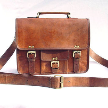 Leather Messenger Bag / Satchel  Vintage Retro by LeftoverStudio