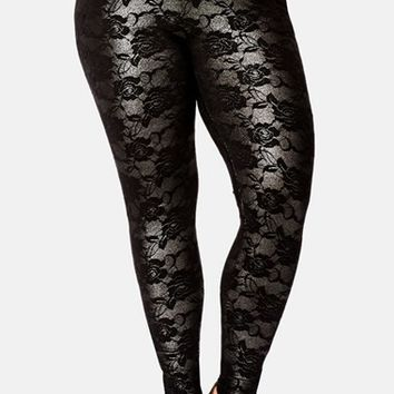Plus Size Women's City Chic Ankle Zip Shimmer Lace Leggings