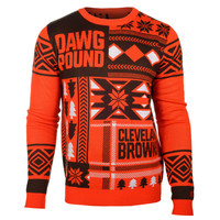 "CLEVELAND BROWNS OFFICIAL MEN'S NFL ""UGLY SWEATER"" BY KLEW"
