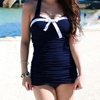 Halter Neck Bow Tie Embellished One Piece Swimsuit