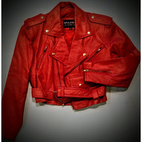 Wilsons leather red jacket  absolutely beautiful size small -.