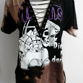 Misfits Lace Up Band T Shirt Top - punk rock tee, grunge, distressed concert tee, bleached