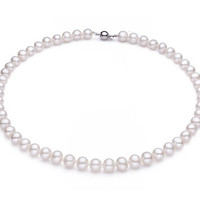 925 Sterling Silver 100% Freshwater Pearl Necklace 6mm pendant Elegant High Quality