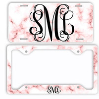White Pink Marble Look License Plate Car Tag Monogram Frame Personalized Set Custom Initials Car Coasters Rose Blush