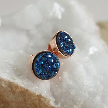 NEW Blue Druzy Rose Gold Studs Titanium Drusy Quartz Earrings Rose Gold Vermeil Bezel Set