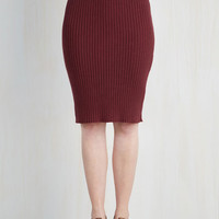 Vintage Inspired, Scholastic Mid-length Stretch of Timeless Skirt in Maroon