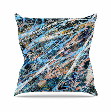 "Bruce Stanfield ""Cobalt One"" Blue Abstract Outdoor Throw Pillow"
