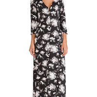 Stillwater 3/4 Sleeve Button Front Maxi Dress in Black