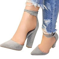 Huiyuzhi Womens Chunky Ankle Strappy Sandal Pointed Toe High Heels chunky heels nude blue