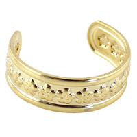 Gold Plated with Embossed Floral Cuff Bracelet