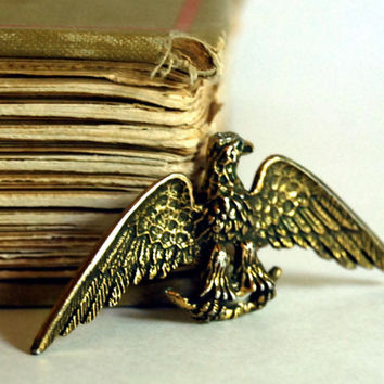 1950s Vintage Brooch Brass Eagle Zentall Costume by CalloohCallay