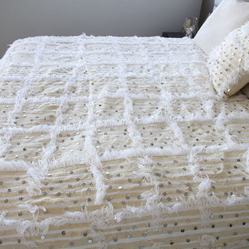 Best Offer X LARGE Size Beautiful Moroccan Wedding Blanket (Handira) Handira Blanket,unique gift,giving a magical touch to your BedrOOm!!!