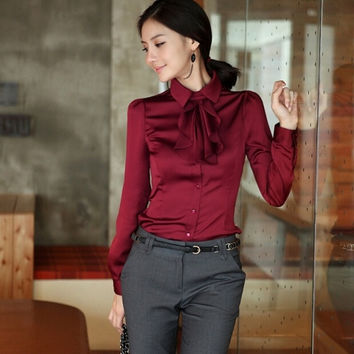 Fashion Women OL Lady Long Sleeved Blouse = 1782343172