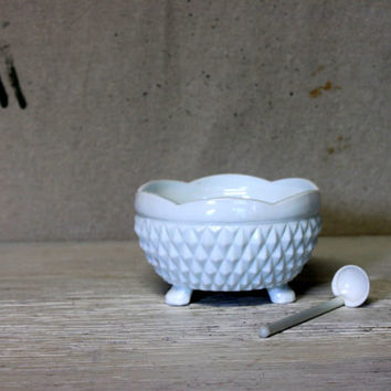 white milk glass footed bowl with spoon // indiana glass diamond point milk glass condiment bowl
