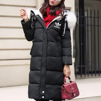 Adidas Women Casual Fashion Middle Long Section Hooded Fur Collar Long Sleeve Cardigan Cotton-padded Clothes Bread Service Coat