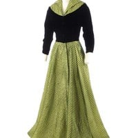 40's Black Velvet and Chartreuse Green Silk Hostess Gown