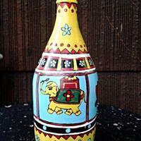 Decorative Lotus Elephant Bottle/Flower Vase-Madhubani Art