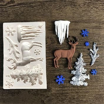 Elk/Glacier/Christmas Tree Fondant Cake Silicone Mold Chocolate Candy Molds Cookies Pastry Biscuits Mould Cake Baking Tools