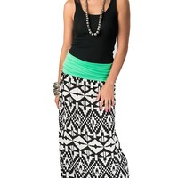 Karlie® Women's Green Foldover with Black and White Aztec Long Maxi Skirt