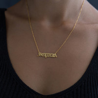 Old English Name Necklace - Gold Name Necklace - Name Necklace - Old English Necklace - Personalized Necklace - Old English Jewelry