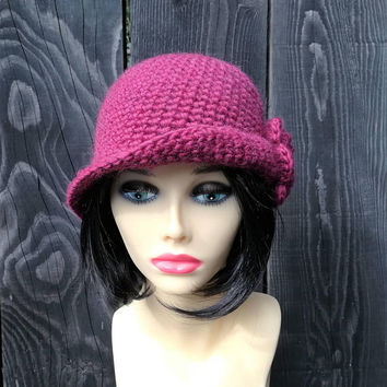 Cloche hat handmade ladies hat women hat bucket hat 1920 hat victorian hat Downton Abbey style felted style wool alpaca bordeaux hat Lilith