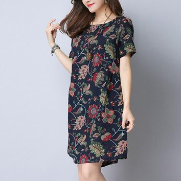 Summer Casual Women Print Dresses Vintage Short Sleeve Loose Linen Big Size Bodycon Dress O-Neck Chinese Style Party Dress 2018
