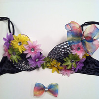 EDC, rhinestone & daisy Rave, Hippie, costume, dance, festival, decorated bra rave outfit, rainbow colored daisies and bow