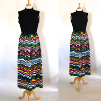 60s Dress / 60s Mod Dress / 60s Polyester Dress / 60s Hostess Dress / Mod Maxi Dress / Polyester Knit Dress / Mad Men Dress / Op Art Dress