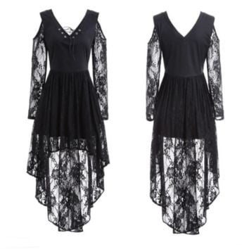 Medieval Renaissance Gothic Lace  Asymmetrical High Low Cosplay Retro Gown Dress