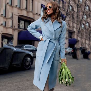 Winter Fashion New Lapel Long Sleeves With Solid Color Plush Long Ladies Coat Casual Women'S Clothing