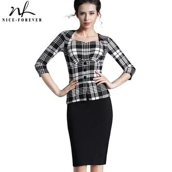 Nice-forever Plaid Sheath Work Dress Square Neck Women Button Fashion Elegant Houndstooth 3/4 Sleeve Female Pencil Dress B240