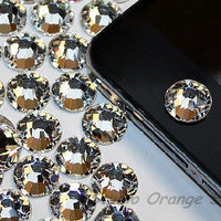 1PC Bling Crystal Swarovski Element Rhinestone Apple iPhone Home Button Sticker, Cell Phone Charm-Clear Color