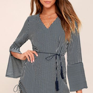 Neroli Navy Blue Striped Long Sleeve Dress