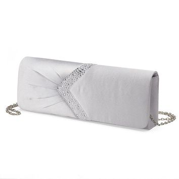 Lenore by La Regale Rhinestone Satin Clutch