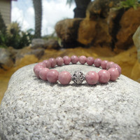 Rhodonite/Rose Pink 8mm Stretch Bracelet with a Sterling Silver Accent Bead..